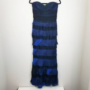 Carmen Marc Valvo lace tiered strapless gown